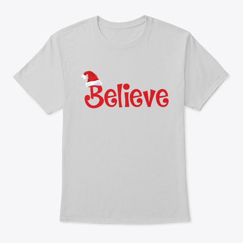 Believe Christmas Pajamas Santa  Light Steel T-Shirt Front