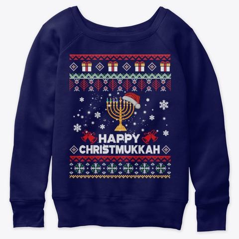 Happy Chrismukkah Humor Hanukkah Christm Navy  T-Shirt Front