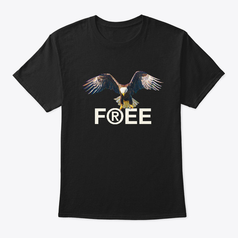 Eagle Flying Spreading Wings Freedom Black T-Shirt Front