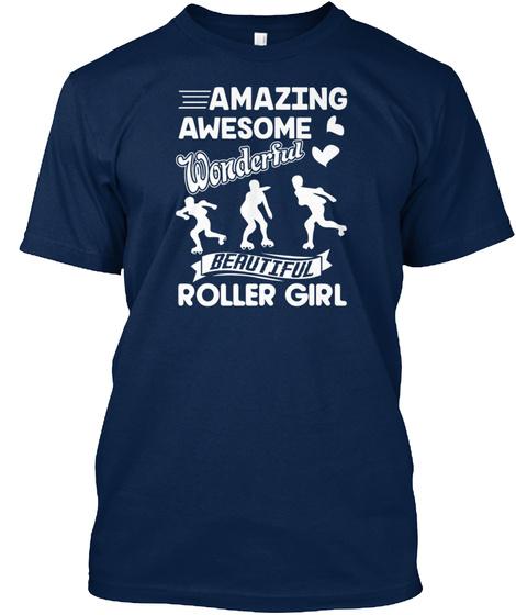 Amazing Roller Derby Girl Shirt Navy T-Shirt Front