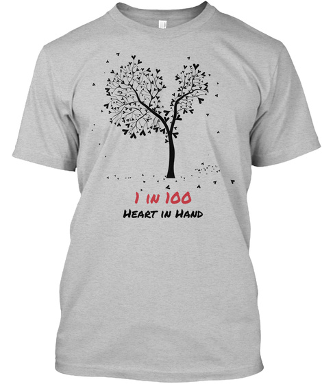 1 In 100 Heart In Hand Light Heather Grey  T-Shirt Front