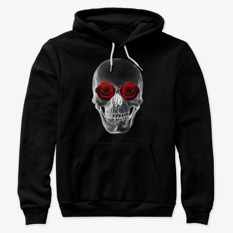 Rose Skull Black T-Shirt Front