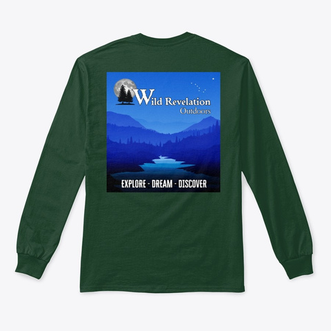 Explore Dream Discover Long Sleeve Tee Forest Green T-Shirt Back