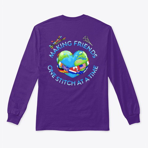 I Love Cross Stitch W/Logo On Back Purple Long Sleeve T-Shirt Back