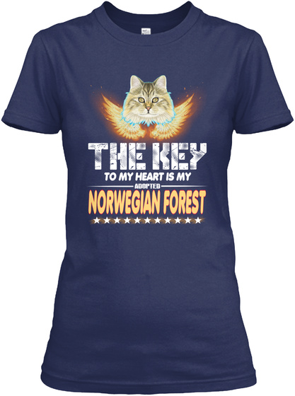 Norwegian Forest Key In My Heart Navy T-Shirt Front