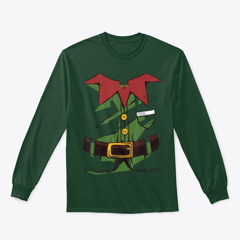 Fun Christmas Elf Elves Costume Pajamas Forest Green T-Shirt Front