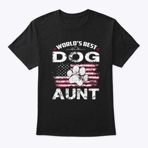 World's Best Dog Aunt Vintage Gift Shirt Black T-Shirt Front