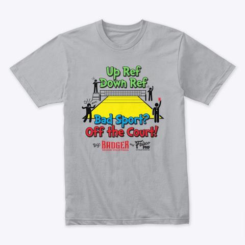 Badger Region Up Ref Down Ref Heather Grey T-Shirt Front