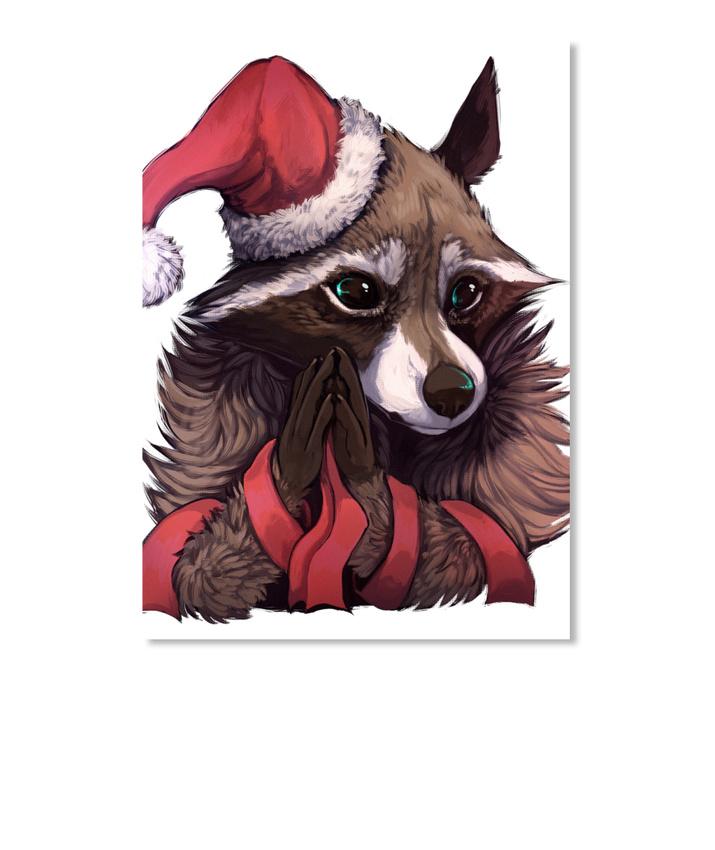 Details about Christmas Racoon Sticker - Portrait