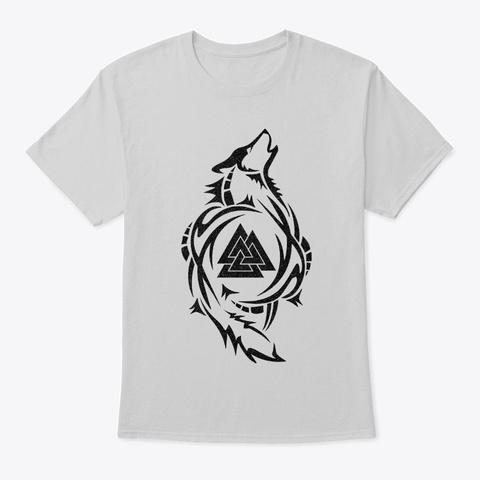 Fenrir Norse Wolf Tattoo Valknut Viking Light Steel T-Shirt Front