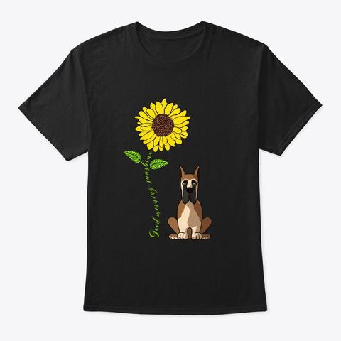 Great Dane Good Morning Sunshine Black T-Shirt Front