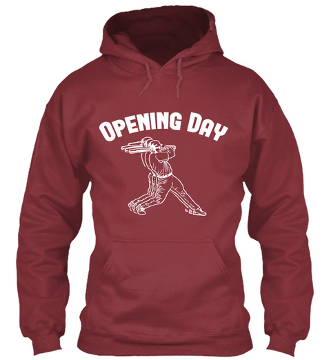 Hoodie Baseball Opening Day Maroon T-Shirt Front