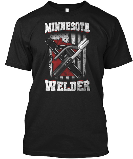 Minnesota  Welder T Shirt Usa Flag Tee Black T-Shirt Front