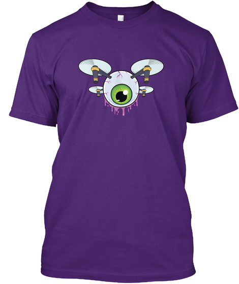 Eye In The Sky   Unisex Drone Tee Purple T-Shirt Front
