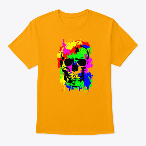 Spooky Skull Skull Art Many Colors Gold T-Shirt Front