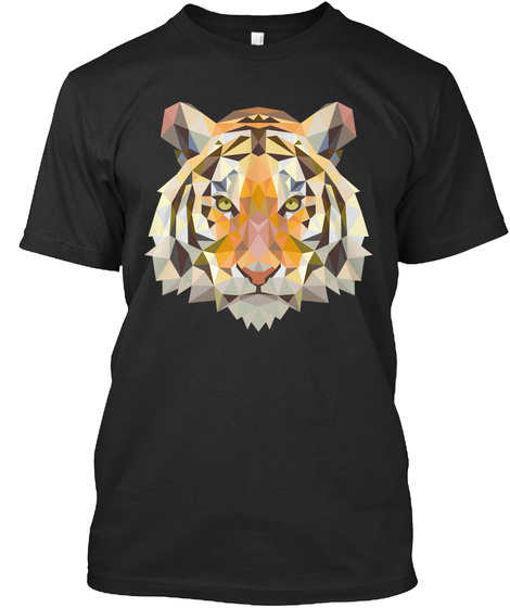 Tiger T Shirts, Tiger Unique Design Tee Black T-Shirt Front