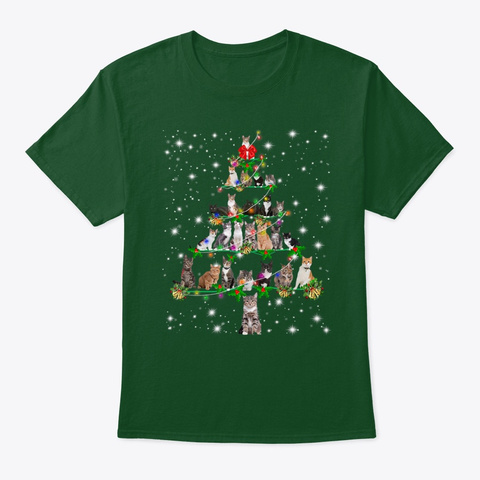 Funny Cats Christmas Tree Tee Ornament Deep Forest T-Shirt Front
