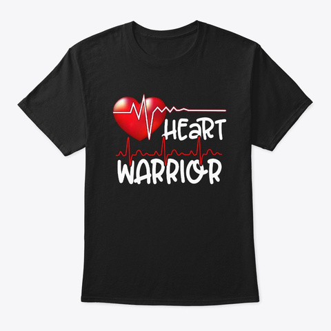 Heart Warrior Chd Awareness Heartbeat Black T-Shirt Front