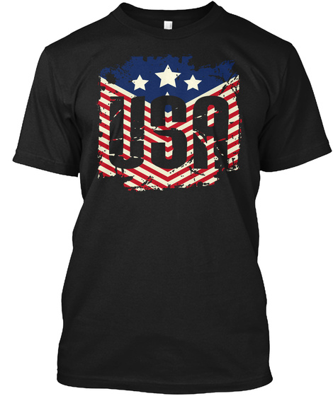 4th Of July U.S. America American Flag Independence Day Black T-Shirt Front