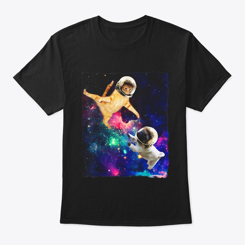 Cute Space Cat Vs Pug Galaxy Epic Fight Black T-Shirt Front