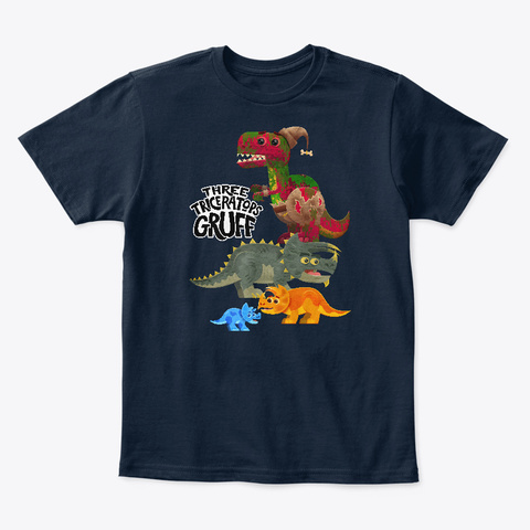 Three Triceratops Gruff New Navy T-Shirt Front