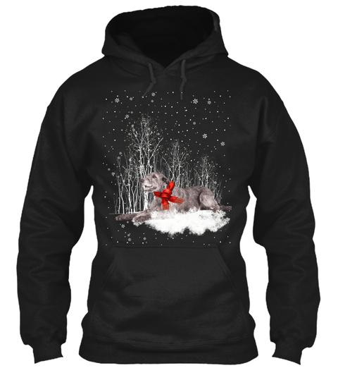 Irish Wolfhound Christmas Dog Snow Black T-Shirt Front