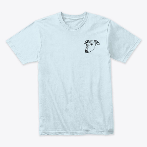 Greyhound Line Art Light Blue T-Shirt Front
