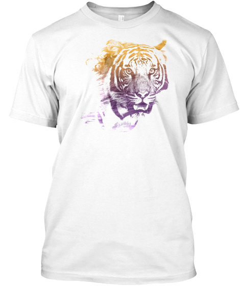 Tiger Superimposed Watercolor T Shirt White T-Shirt Front
