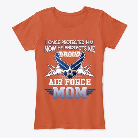 Pride Military Proud Mom Air Force Deep Orange T-Shirt Front