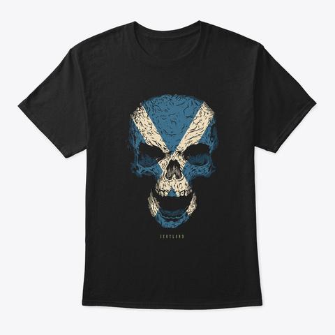 Skull Scotland Flag Skeleton Black T-Shirt Front