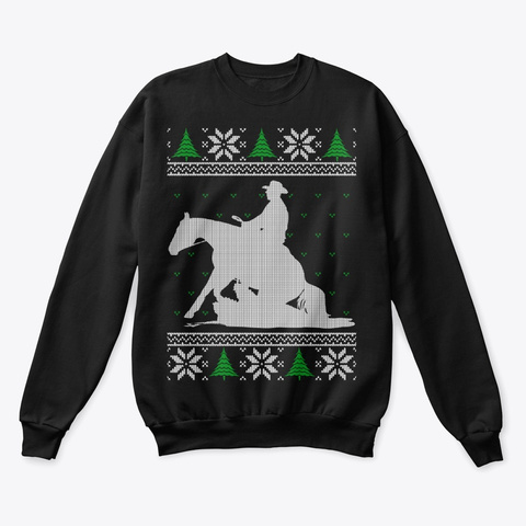 Reining Horse Ugly Christmas Sweater Black T-Shirt Front