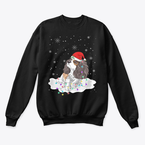 Charles Spaniel With Santa Christmas Black T-Shirt Front