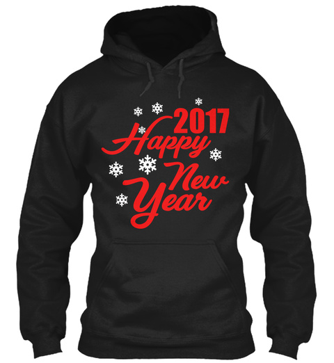 2017 Happy  New Year Black T-Shirt Front
