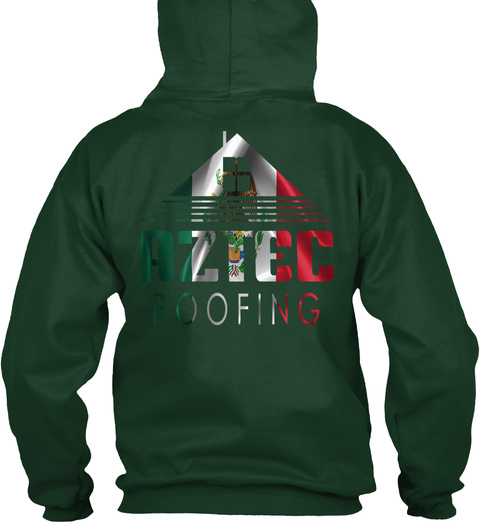 Aztec Roofing Forest Green T-Shirt Back