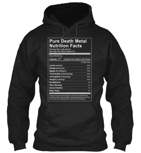 Pure Death Metal Nutrition Facts Black T-Shirt Front