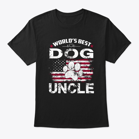 World's Best Dog Uncle Vintage Gift Tee Black T-Shirt Front