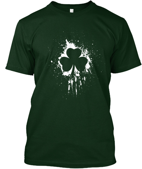 Classic Grunge Shamrock Design T Shirt Forest Green Camiseta Front