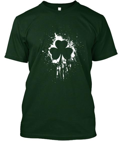 Classic Grunge Shamrock Design T Shirt Forest Green T-Shirt Front