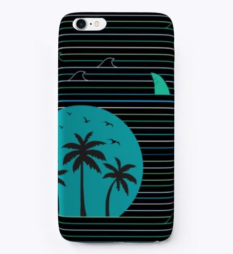 Abstract Surfing Surfer Shark Wave Beach Black T-Shirt Front