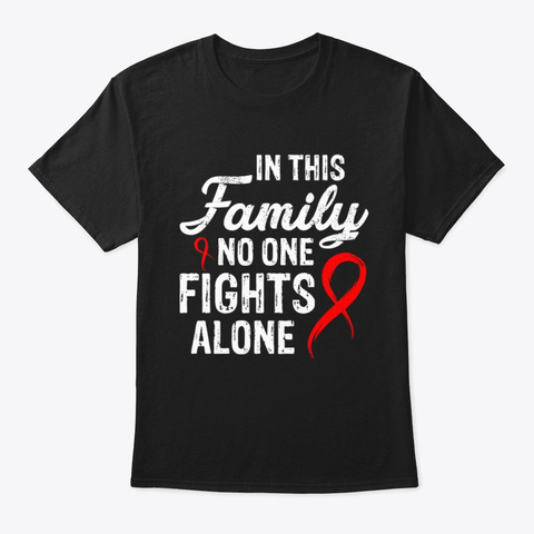 No One Fights Alone Blood Cancer V2 Tee Black T-Shirt Front