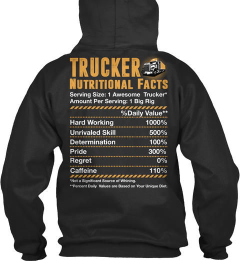 Trucker Nutritional Facts Serving Size 1 Awesome Trucker Amount Per Serving 1 Big Rig Daily Value Hardworking... Jet Black T-Shirt Back
