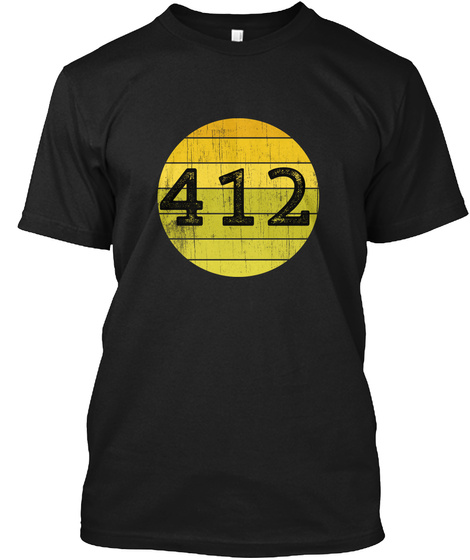 412 Pittsburgh Yinzer Retro Gold Black  Black T-Shirt Front