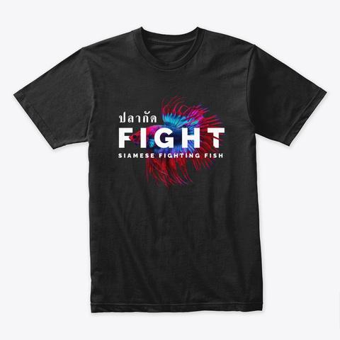 Siamese Fighting Fish Muay Thai Black T-Shirt Front