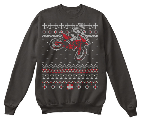 Motocross Rider Ugly Christmas Sweater Jet Black T-Shirt Front