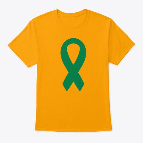 Green Awareness Ribbon Gold T-Shirt Front