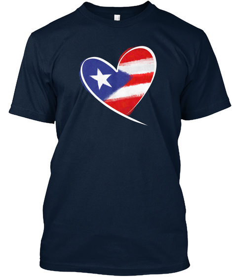Heart Puerto Rico New Navy T-Shirt Front