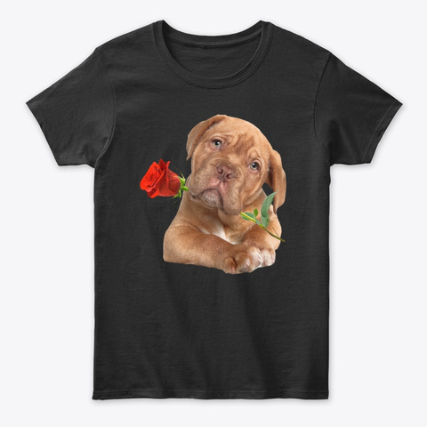 Rose Dog Happy Valentine's Day Black T-Shirt Front