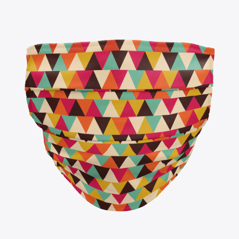 Colorful Geometric Triangles Face Mask Standard T-Shirt Front