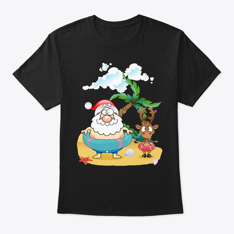 Funny Santa Surfing Hawaiian Summer Chri Black T-Shirt Front