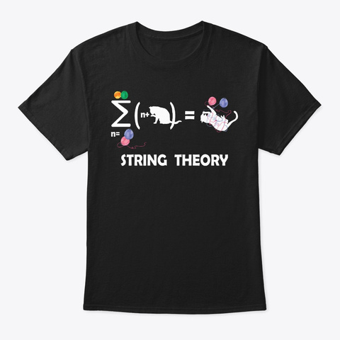 String Theory For Cat Lover Black T-Shirt Front